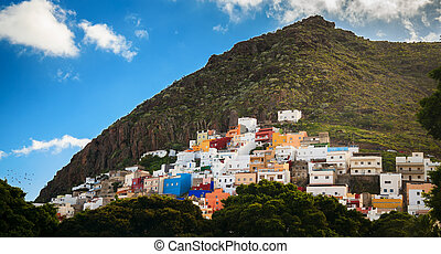 colorful houses of San Andres town, Tenerife island,...