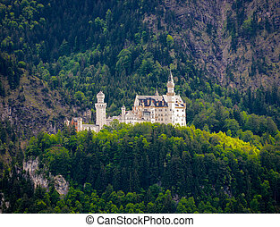 world-famous Neuschwanstein Castle, near Fussen, southwest...