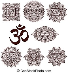 Set of seven chakras. Oriental ornaments for henna tattoo...