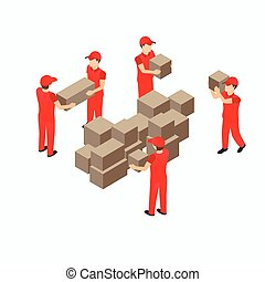 Warehouse storehouse workers in red with box vector...