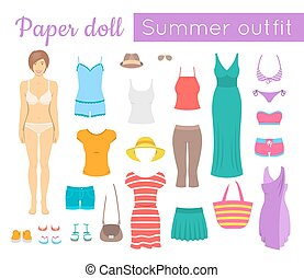 Paper doll girl with summer clothes game - Paper doll game...