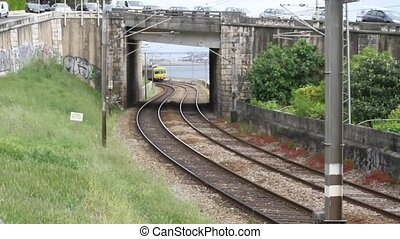 Train,Tunnel and Water Background - Train crossing a tunnel...