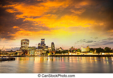 Financial district of London. Panoramic skyline at twilight