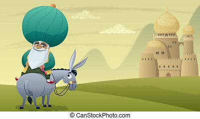 Nasreddin Hodja - Cartoon of Nasreddin Hodja on his donkey.