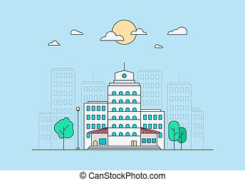 City Life Concept. Town street. Urban Landscape Banner with...