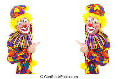 Two Clowns with White Space - Two happy clowns pointing to a...