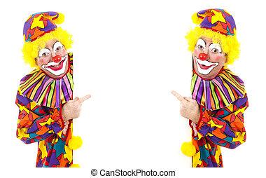 deux, clowns, blanc, espace