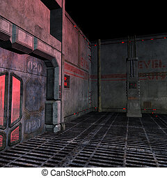 dark and scary place in a scifi setting 3D rendering with...