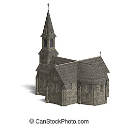 City Building Church 3D rendering with clipping path and...