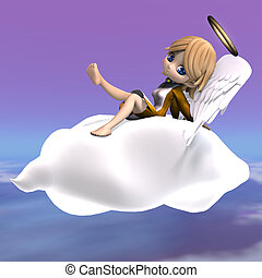 cute cartoon angel with wings and halo. 3D rendering with...