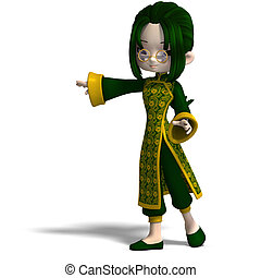 funny cartoon girl in green china dress 3D rendering with...