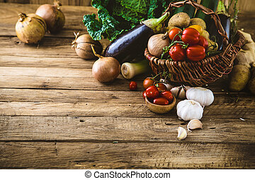 Vegetables on wood Bio Healthy food, herbs and spices...