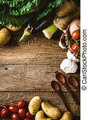 Vegetables on wood. Bio Healthy food, herbs and spices....