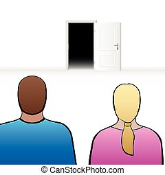 Couple Open Door - Couple looking at an open door, as a...