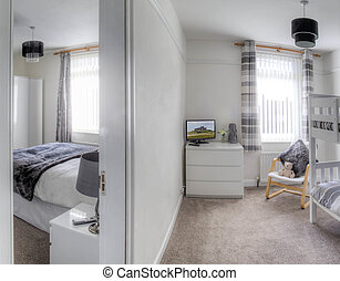 Family Holiday hotel - Empty hotel room with a bunk bed. A...