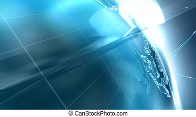Global connect - Glass globe with network on dark background