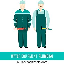 vector flat icon plumbing, along with tools - Vector flat...