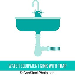 vector flat icon water sink with trap - Vector flat icon...