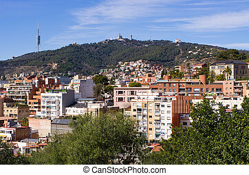 Tibidabo hill in Barcelona,Spain - Tibidabo hill in...
