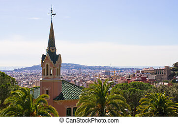 Cityscape of Barcelona from Park Guell, Spain
