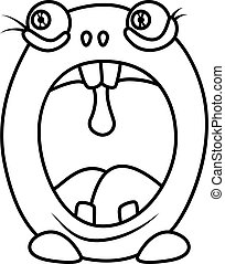 Monster alphabet coloring pages: letter O