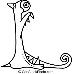 Monster alphabet coloring pages: letter L