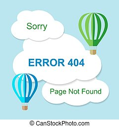 Air balloon with 404 error notification on white clouds...