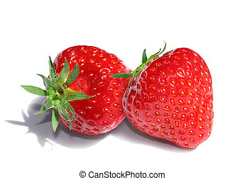 Two strawberries - Two delicious red strawberries isolated...