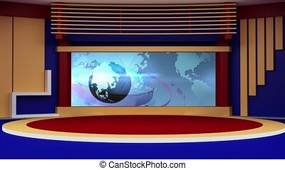News TV Studio Set 178- Virtual Green Screen