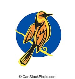 Golden Oriole perched on a branch. Vector flat illustration....