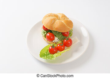 cottage cheese sandwich - bulkie roll with cottage cheese,...