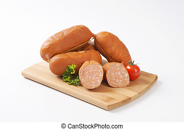 wurst sausages - short sausages suitable for grilling over a...