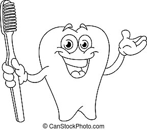 Outlined cartoon tooth with toothbrush