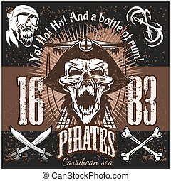 Vintage Pirate Labels or Design Elements With Retro Textures.