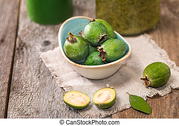 Fresh fruits of feijoa and jam - Fresh fruits of feijoa in...