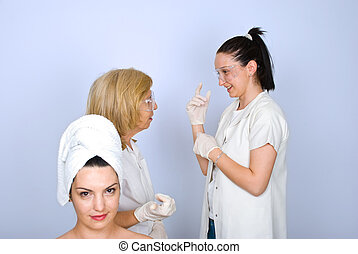 Woman waiting for botox procedure - Young woman in front of...