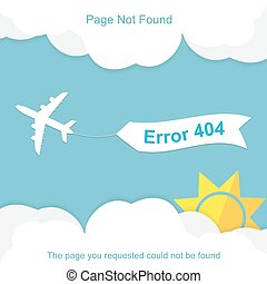 Airplane with 404 error notification on white banner Vector...
