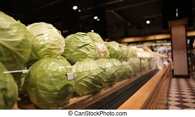 cabbage in a supermarket in the vegetable section