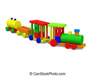 pequeno, brinquedo, trem
