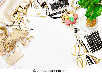 Fashion flat lay bloggers social media. Accessories office...