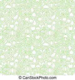 Line Fruit Vegetable White Tile Pattern
