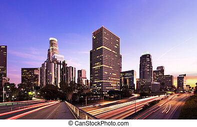 L.A. At Night - Los Angeles during rush hour at sunset