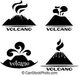 Volcano vector set. Logotypes and signs. Black and white...