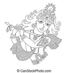 black and white god lord Krishna for Janmashtami festival,...