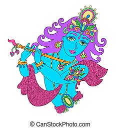 god lord Krishna for Janmashtami festival - drawing of god...