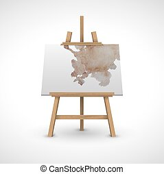 blank canvas on a wooden easel with watercolor. White background