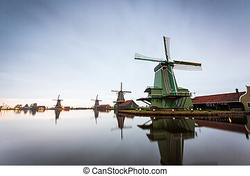 Windmills in open air museum in Zaanse Schans, The...