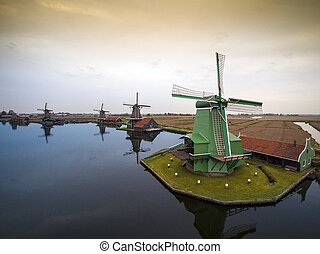 Windmills in The Netherlands - symbol of the country.