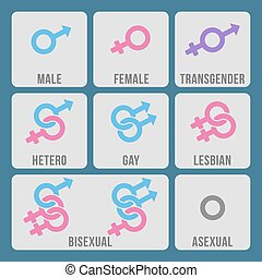 Vector gender and sexual orientation color icons set. Gnder...