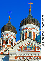 Alexander Nevsky Cathedral and Tallinn street - The domes...